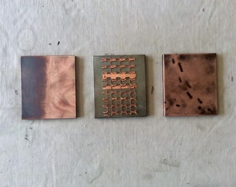 The Mini 3 Piece / Copper and Steel wall art
