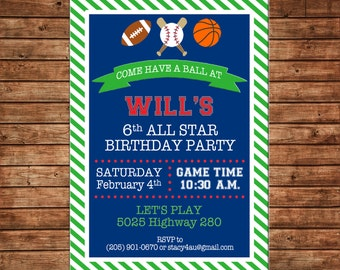 Boy Sports Sport Baseball Football Basketball Stripe Invitation Birthday Party Invitation - DIGITAL FILE