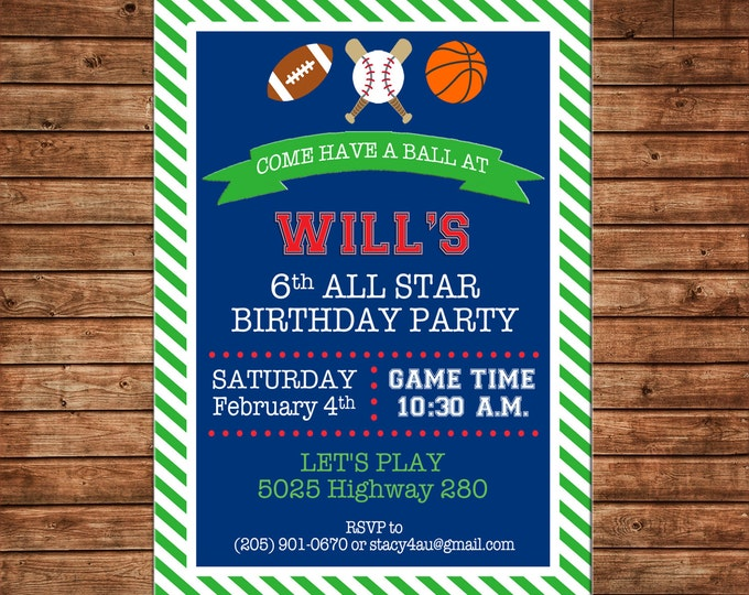 Boy Sports Sport Baseball Football Basketball Stripe Invitation Birthday Party Invitation - DIGITAL FILE