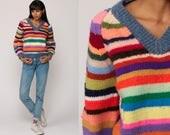 Rainbow Sweater STRIPED V Neck Sweater Knit Neon Bright 80s Bohemian Hippie Slouchy Vintage boho Raglan Sleeve Pullover Medium