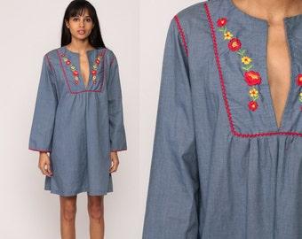70s Boho Dress Mini FLORAL BIB Babydoll 1970s Bohemian Blue Chambray Vintage Hippie Empire Waist Long Sleeve Blue Minidress Extra Large xl