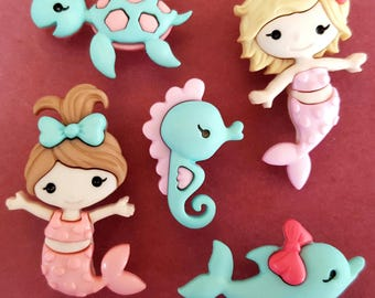 MERMAID KISSES - Dolphin Turtle Seahorse Girl Sea Dress It Up Craft Buttons