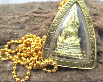 Thai small Chinnarat Buddha amulet gold plated pendant 1.5 mm. Gold plated  ball chain necklace