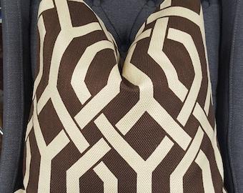 Brown Geometric Pillow Cover, Decorative Pillow, Throw Pillow, Toss Pillow, P Kaufmann, Brown Fretwork, Gatework, Home Furnishing