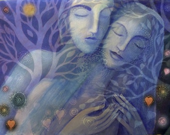 Lovers Embrace with Trees, Planets and Stars.  Giclee print