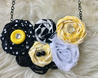 Black, Yellow, & White Fabric Flower Statement Necklace, Bib Necklace, Rolled Rosette Statement Necklace