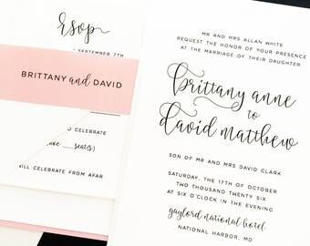Wedding Invitation, Wedding Invite, Layered Invitation, Black, White, Pink, Blush, Custom Colors | PRINTED SAMPLE
