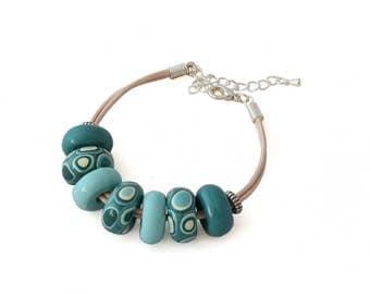 Boho Bracelet - Teal Bracelet - Fesitval Bracelet - Stacking Bracelet - Chunky Bracelet - Cotton Cord Bracelet, Beachwear - Gifts for Her