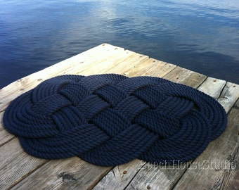 Nautical Bathmat,FREE SHIP, Cotton Mat, Navy Blue Rope Bathmat, Cream Rope Bathmat, Cotton Rope Rug, Nautical Bathroom, Nautical Bedroom
