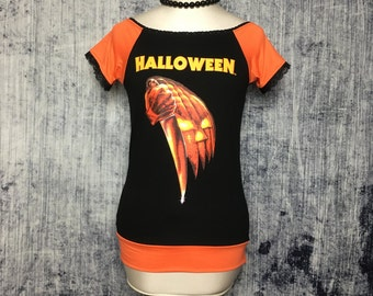 Halloween Women's T-Shirt // Off Shoulder Reconstructed T-Shirt // Size Small // Horror Alternative Goth Pumpkin Orange Black