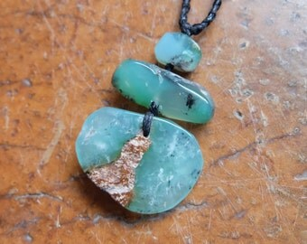 Unique Chrysoprase necklace on braided cord adjustable length. Natural healing jewelry  - one of a kind, handmade in Australia