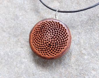 Fibonacci sequence necklace - Protea flower base handmade into natural mandala jewelry