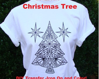 Adult Coloring CHRISTMAS Tree TRANSFER Iron On x3 (1 Tree, 2 North Stars) for T Shirts Totes DIY w Fabric Markers - Holiday Gift Party Favor