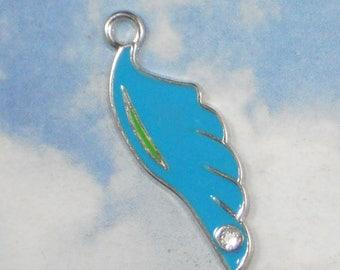 4 Aqua Blue Enamel Wing Rhinestone Feather Charms Pendants Silver Tone (P1736B)