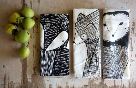 Animal Kitchen Towels, Forest Animal Tea Towel Bundle, Woodland Dishcloths, Gift For Animal Lovers, Animal Gift For Her, Home Essentials