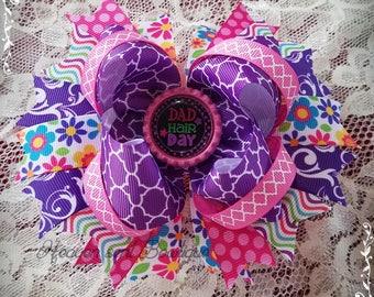 Dad hair Day hair bow/Hair bow/Big hair bow/Hair Bow/hair Bow/Girl hair Bow/Couture hair bow,Boutique hair bow/Stack hair bow/ headband