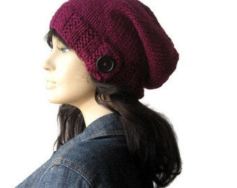 Purple Knit Hat,Button Tab Beanie, Knit Slouchy Beanie, Fall Accessories, Magenta Slouchy Hat, Vegan Knits, Knit Slouchy