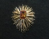 Vintage Atomic Starburst Amber Rhinestone Pin Brooch