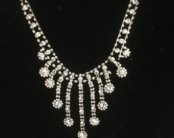 Vintage Wedding Rhinestone Drop Pendant Necklace