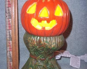 Light Up Pumpkin on Corn Stalks Made of Ceramic Halloween Jack O Lantern