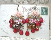 love earrings mismatch valentine rose assemblage romance upcycled vintage jewelry