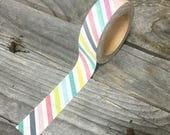 30% OFF Washi Tape - 15mm - Multi-Colored Diagonal Stripes on White - Deco Paper Tape No. 966