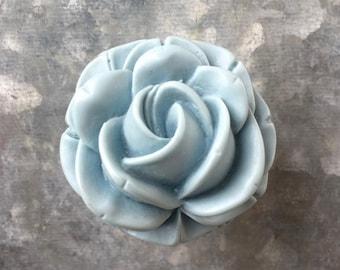 Rose Flower Drawer Knobs - Cabinet Knobs Blue-ish Light Grey (RFK03-01)