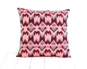 Pillow, Cushion, Ikat,  16x16, Burgundy, Gray