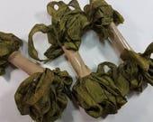 Olive Green Shabby RIBBON crinkled vintage seam binding