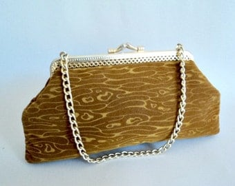 Vintage Purse // 1970's Brown Velveteen Clutch Handbag // Brown Swirl Pattern Bag w/ Gold Chain Strap