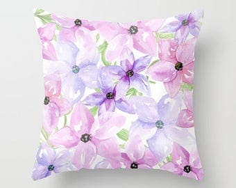 Clematis watercolor flowers 18x18 or 22x22 pillow, cottage decor, floral pillow, flowers, pastel pillow, spring