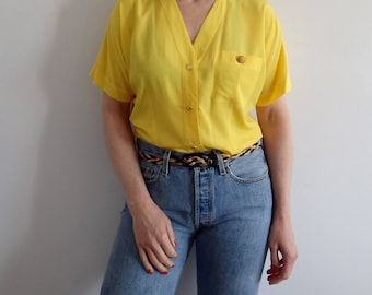 Blouse Vintage Yellow Button Up Short Sleeve
