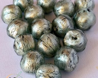 Lot of 10 Murano glass beads Grey color and Gold