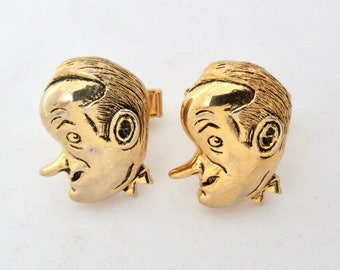 Vintage Bob Hope Cufflinks, Gold Tone Comedian Caricature Figural Character Cuff Links