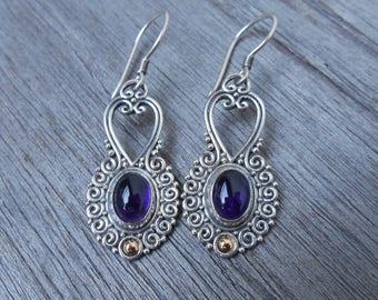 Sterling Silver Amethyst gold dangle Earrings / 1.75 inch long / silver 925 /  Balinese handmade jewelry