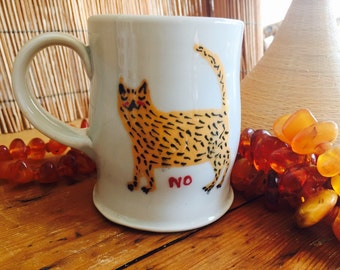 Handmade pottery mug, hand painted quirky cat