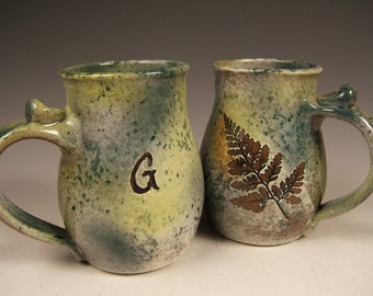 Initial Mug,Monogram Mug, Personalized Mug, Handmade Leaf Mug, Green Mug. Coffee Mug, 16 Ounce Mug