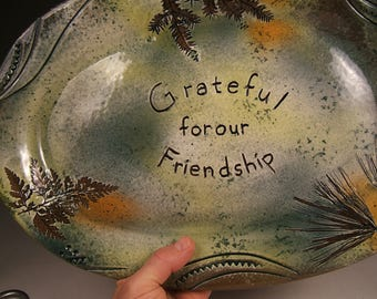Grateful for our Friendship gift stoneware large platter pottery handmade Potsbydeperrot