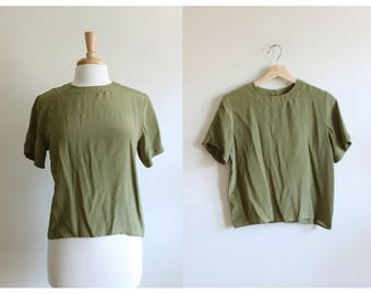Vintage Olive Green Silk T-Shirt Top