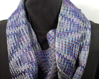 Handwoven Tencel Network Twill Cowl in Silvery Green and Variegated Blues and Purples