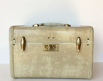 Vintage Train Case Luggage Samsonite Cream Marbled Suitcase
