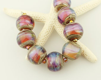 Lampwork Bead Set, Iridescent Hot Pink, Blue, Purple Glass SRA