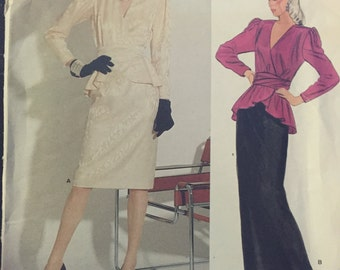 "Vogue 1298, sewing pattern, pierre balmain design, Paris Original, Easy Vogue Pattern, sewing pattern, misses size 10, bust 32 1/2"" waist 25"