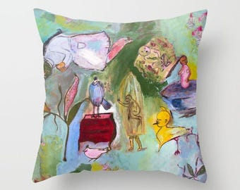 Art pillow cover, pillow case, decorative throw pillow, spun poplin, cushion case, animals girls, full color