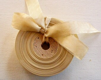 Vintage French 1930's-40's Woven Ribbon -Milliners Stock- 5/8 inch Iced Coffee