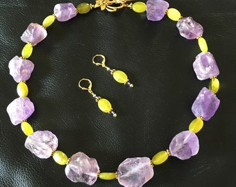 Chunky Nugget Amethyst and Olivine Gemstone Beaded Necklace and Earrings