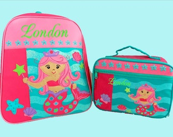 Child's Personalized Stephen Joseph GoGo MERMAID Themed Backpack and Lunchbox School Set-Monogramming Included In Price