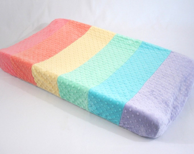 Pastel Rainbow Changing Pad Cover Multi Color Stripe