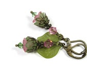 Flower Earrings, Green Leaf Earrings, Pink Swarovski Crystal Earrings, Spring Jewelry, Antique Brass, Soft Pastel Pink Earrings, Boho Chic