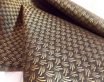 Asian Brocade Fabric~Black Copper Asian Fabric~Dense Fabric~Asian Design Fabric